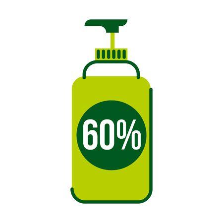 60 percent alcohol containing antiseptic in plastic bottle flat illustration