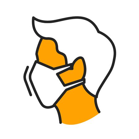 Man in medical face mask flat illustration. Person wearing protective respirator orange and black linear icon isolated on white background. Healthcare, quarantine, virus prevention concept