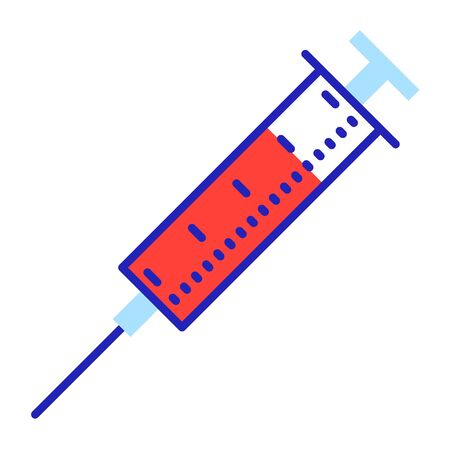 Medical syringe with red substance flat illustration. Blood sampling for analysis. Injection, vaccination. Disposable medical tool with red liquid color linear icons isolated on white background Stock Vector - 146916974