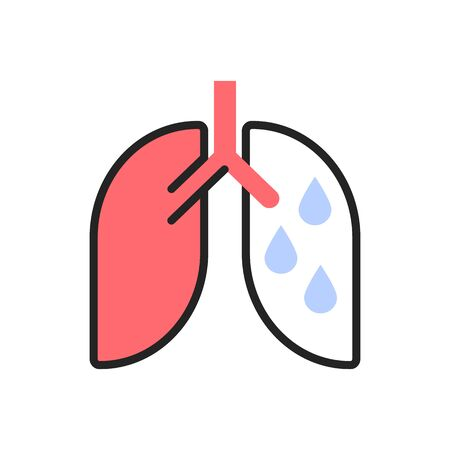 Hydrothorax, lung disease, exudative pleurisy type flat illustration. Fluid in lungs, chronic disease. Human respiratory system disorder color linear icon isolated on white background Illustration
