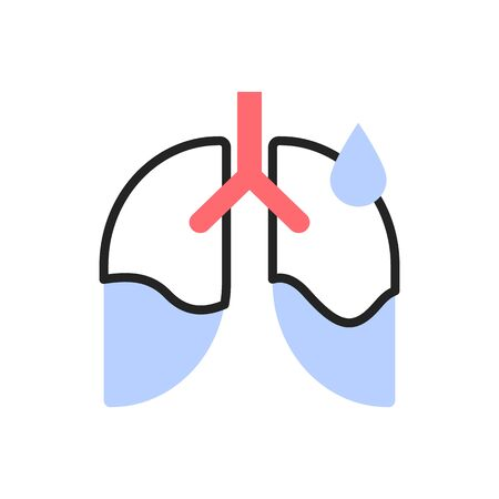 Pleurisy, lung disease, coronavirus consequence flat illustration. Fluid in lungs color linear icon isolated on white background. Pleuritis, human respiratory system illness, inflammation Stock Vector - 146951025