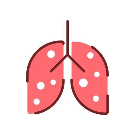 Pneumonia, human lung inflammation, coronavirus progression flat illustration. Respiratory system disease. Infected person lungs pink and brown linear icon isolated on white background Stock Vector - 146951026