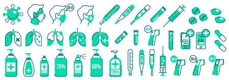 Big set of Medical icon. Blue syringe, Antiseptic, pills, vitamins flat illustration
