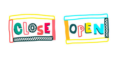 naive sign that says Open and closed icon vector Stock Vector - 150920810