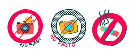 Set of No Photo, no flash or no smoking icons. Naive bright syile Illustration