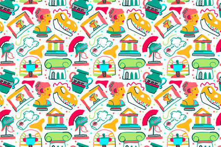 museum seamless pattern in trendy naive style with white backgrund. Creative history wallpapper for boys and girls