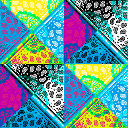 Seamless pattern based on square ornament paisley Bandana Print for boys and girls. Best motive for print on fabric or papper