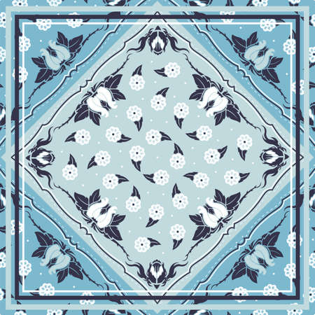Seamless pattern based on square ornament paisley Bandana Print for boys and girls. motive for print on fabric or papper