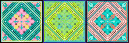 Set of Seamless pattern based on square ornament Bandana Print for boys and girls. motive for print on fabric or papper