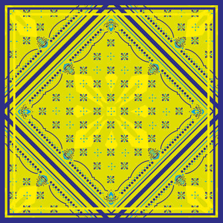 Seamless pattern based on square ornament Bandana Print for boys and girls. motive for print on fabric or papper