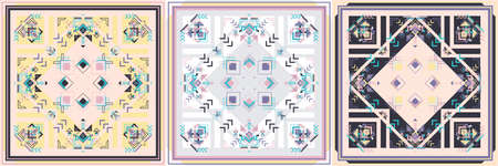 Tribal square Boho ornament for boys and girls. Ethnic African bandana pattern with chevrons and triangles. Aztec style. Modern Geometric rug