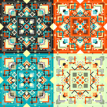 Tribal square Boho ornament for boys and girls. Ethnic African bandana pattern with chevrons and triangles. Aztec style. Illustration