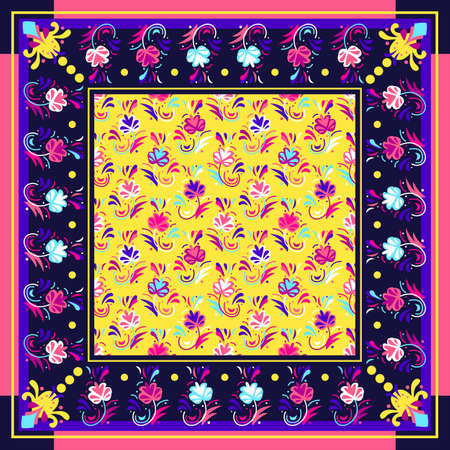 pattern based on square ornament Flower Bandana Print for boys and girls. motive for print on fabric or papper