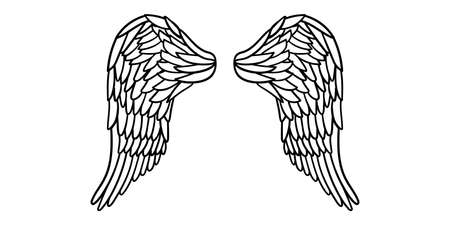 Angel or bird wings abstract sketch isolated on white. vector doodle illustration. For your design