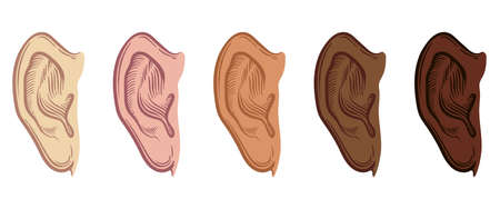 Set of Hand Drawn Ear Sketch Symbol with different skin color. Vector Listen Element In doodle Style isoleted on white. Illusztráció