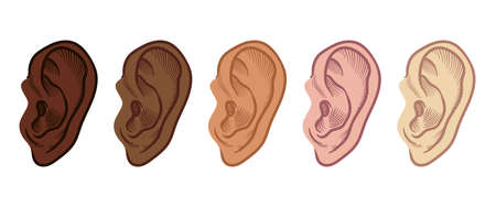 Set of Hand Drawn Ear Sketch Symbol with different skin color. Vector Listen Element In doodle Style isoleted on white. Stock fotó - 163745490