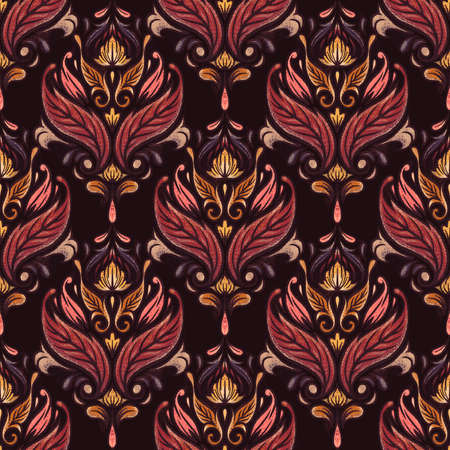 Damask seamless pattern for boys and girls. Baroque ornament. Luxury trendy texture. Vintage retro old styled.