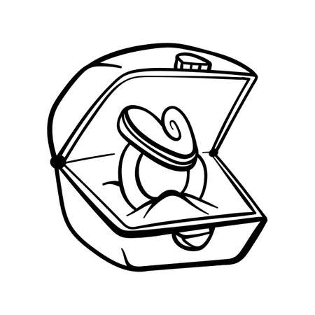 Hand-drawn element for valentines day. Doodles for web, postcard design, congratulations. Ring gift box.