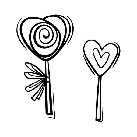 Valentines Day theme doodle Vector icon of candy with heart shape isolated on a white.