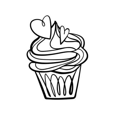 Cupcake for Valentines Day. Cupcake doodle illustration.  Black outline isolated on a white background.