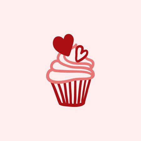 Cupcake for Valentines Day. Cupcake doodle illustration. Black outline isolated on a pink background. Illusztráció