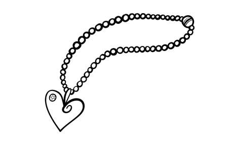 Pearl necklace with heart shaped pendant in doodle style. Hand drawn vector illustration in black ink isolated on white background. Great for coloring book.