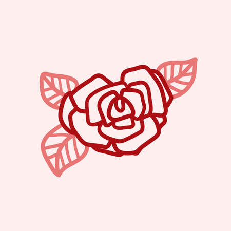 Rose vector illustration. Birthday card. Doodle style. Design icon symbol for decor textile or paper.