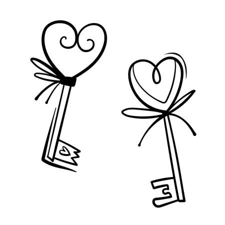 Valentines Day theme doodle Vector icon of hand drawn key with heart shape on a white background.