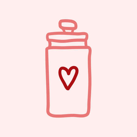 Hand drawn mason jar with heart shape isolated on a pink. Contour sketch. Vector illustration.