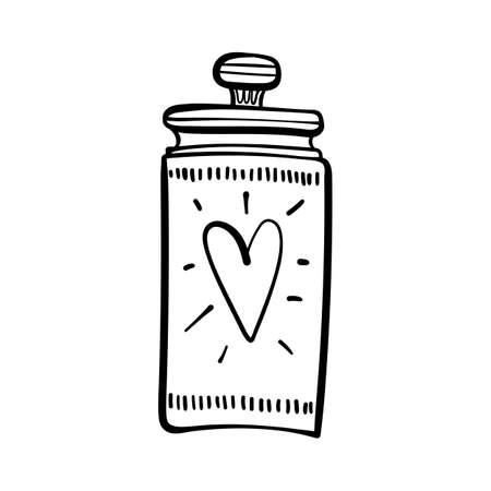 Hand drawn mason jar with heart shape isolated on a white. Contour sketch. Vector illustration. Illusztráció