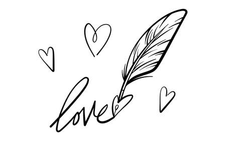 Valentines Day theme doodle Vector icon of hand drawn text Love with heart shape with isolated on a white background.