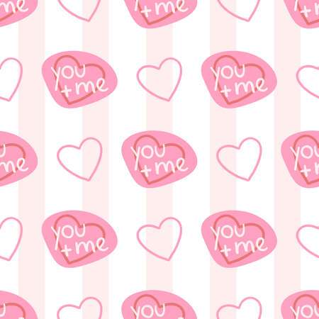 Valentines Day doodle Seamless pattern of hand drawn elements with heart shape for girls and boys textile, wallpaper, Greeting card