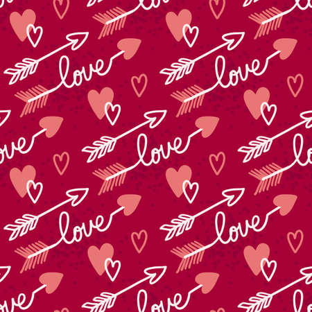 Valentines Day doodle Seamless pattern of hand drawn elements with heart shape for girls and boys textile, wallpaper, Greeting card Stock fotó - 162983279