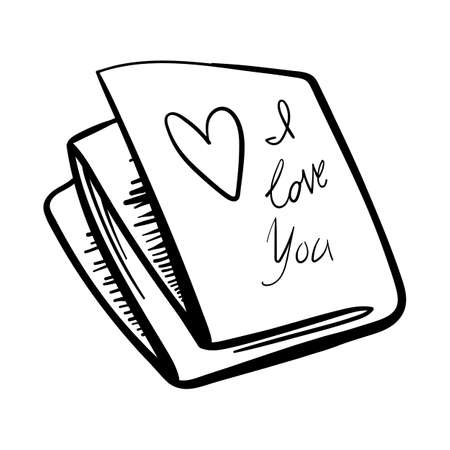 Valentines Day theme doodle Vector icon of hand drawn mail letter with heart shape on a white background.