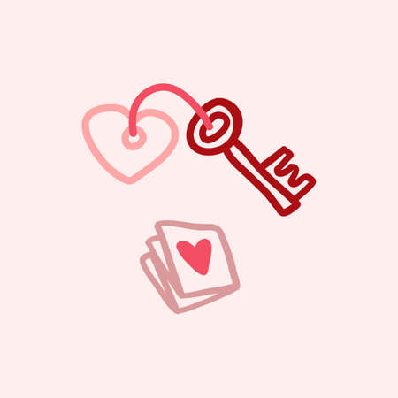 Valentines Day theme doodle Vector icon of hand drawn mail letter with heart shape on a pink background.