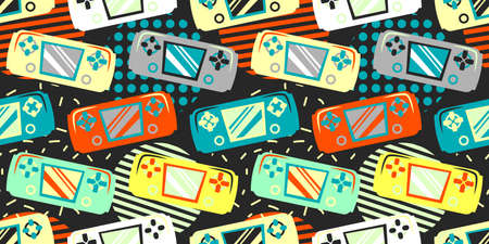 Seamless bright pattern with joysticks. Video game controller gaming cool print for boys and girls. Print for textiles, sportswear.