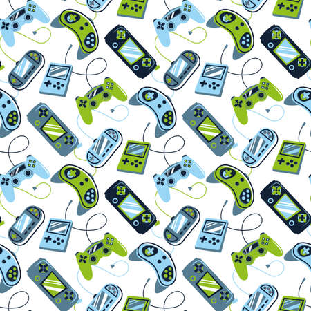 Seamless bright pattern with joysticks. Video game controller gaming cool print for boys and girls. Print for textiles, sportswear. Stock fotó - 164624747