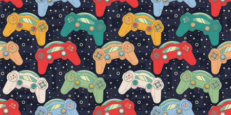 Seamless Retro pattern with joysticks. Video game controller gaming cool print for boys and girls. Print for textiles, sportswear.