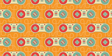 Vector Seamless Retro pattern with joysticks. Video game controller gaming cool print for boys and girls. Print for textiles, sportswear.