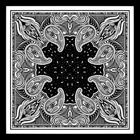 Vector pattern based on square ornament paisley Bandana Print for boys and girls. Best motive for print on fabric or papper.