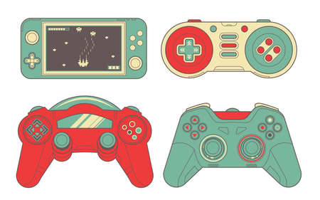 Seamless bright set with joysticks. Video game controller gaming cool print for boys and girls. Print for textiles, sportswear.