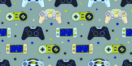 Vector Seamless Retro pattern with joysticks. Video game controller gaming cool print for boys and girls. Print for textiles, sportswear