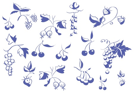 Set of contour berries Illustration