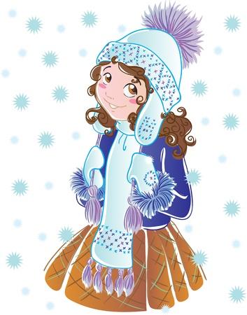 pompon:  Winter girl Illustration