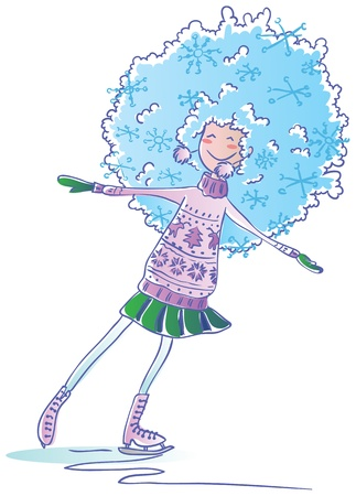 Winter girl go skating Illustration