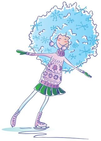 Winter girl go skating