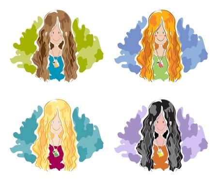 redheaded: Girls Illustration