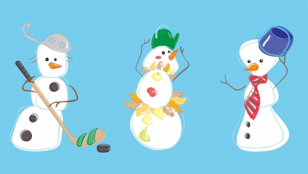 Three snow mans Illustration