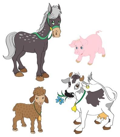 животные: Набор сельскохозяйственных животных Иллюстрация