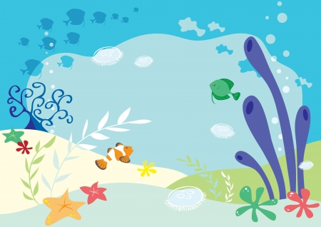 jelly fish: Undersea background  Illustration